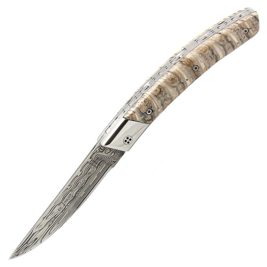 Claude Dozorme Limited Edition Le Thiers Damascus Blade Folding Pocket Knife, Mammoth Tooth Pocket Knife Discontinued