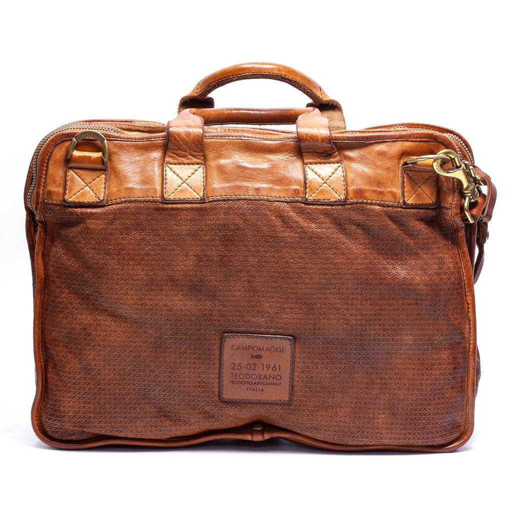 Campomaggi Leather Hexagonal Briefcase, Cognac Leather Briefcase Campomaggi
