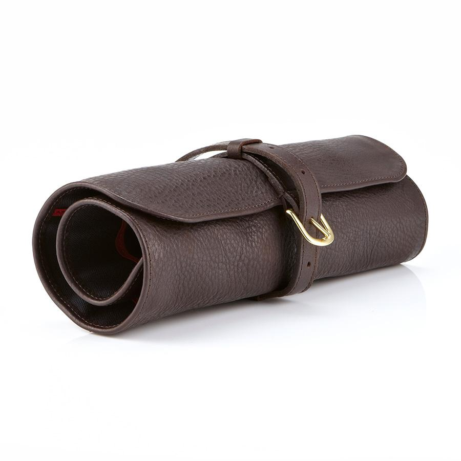 Daines & Hathaway Utility Roll, Krypton Brown Leather Grooming Travel Case Daines & Hathaway