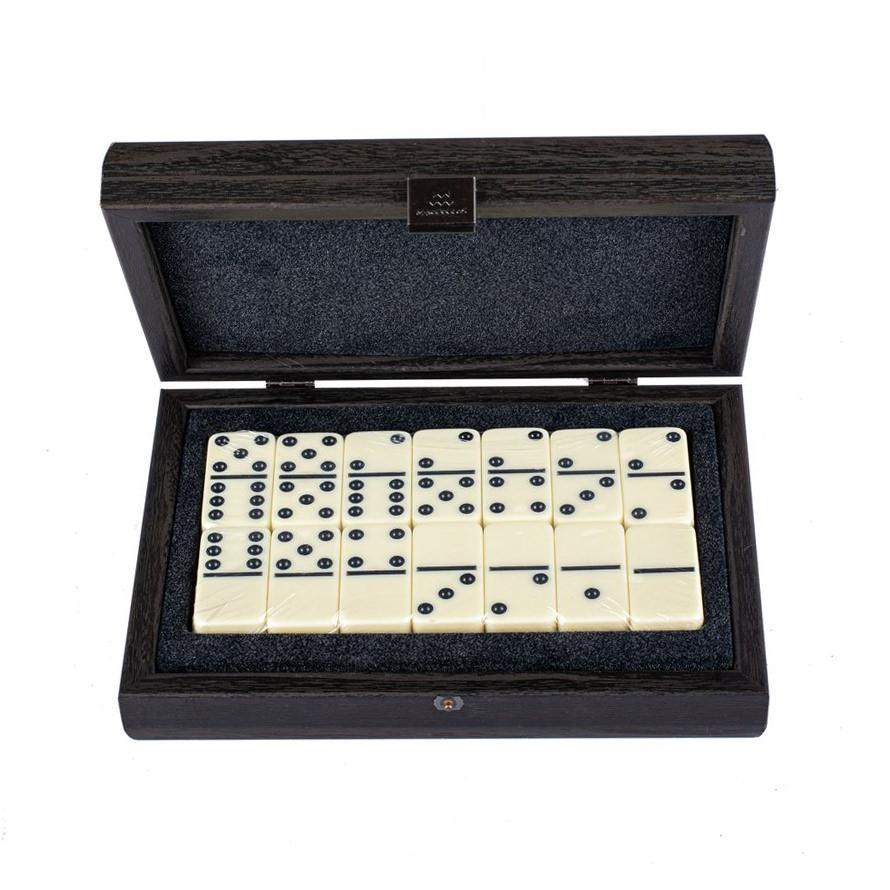 Manopoulos Domino Set Board Game Manopoulos Dark Grey Leather Croc Tote