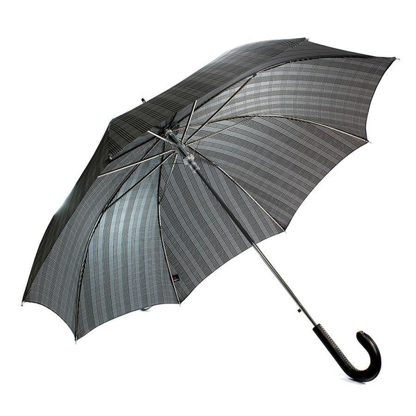 Doppler Orion Diplomat Gentlemen's Umbrella with Milano Leather Handle, Bold Black Plaid - Fendrihan - 1