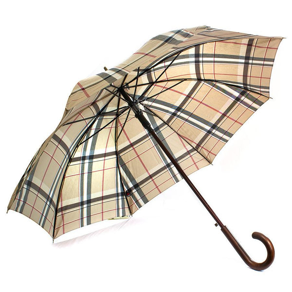 Doppler Zurs Rustika Gentlemen's Umbrella with Chestnut Handle, Classic Tan Plaid - Fendrihan - 1