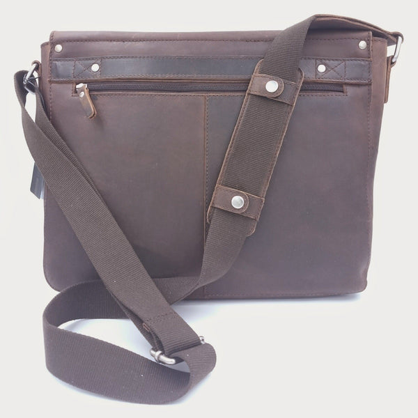 "Leonhard Heyden Salisbury Leather Messenger Bag with 13"" Laptop Compartment - Medium, Brown - Fendrihan - 2"