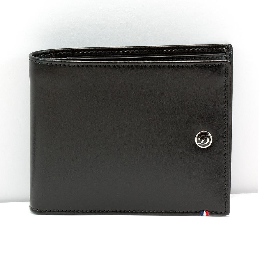 S.T. Dupont Line D Money Clip Leather Wallet with 6 CC Slots, Elysee Black Leather Wallet S.T. Dupont
