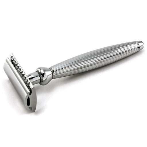 Edwin Jagger Bulbous Classic Double-Edge Razor, Lined Chrome Handle - Fendrihan