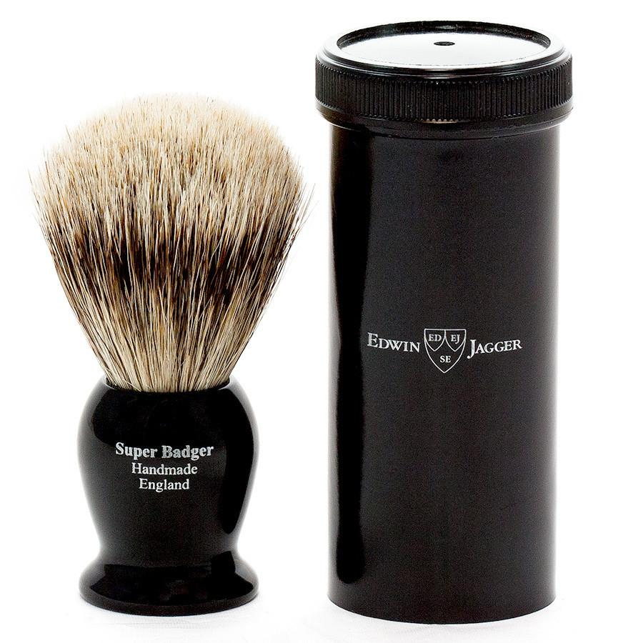 Edwin Jagger Super Badger Shaving Brush in Ebony, Travel Case Badger Bristles Shaving Brush Edwin Jagger