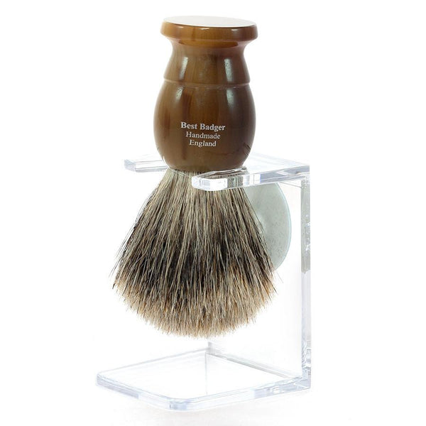 Edwin Jagger Best Badger Shaving Brush and Stand in Light Horn, Medium - Fendrihan - 2