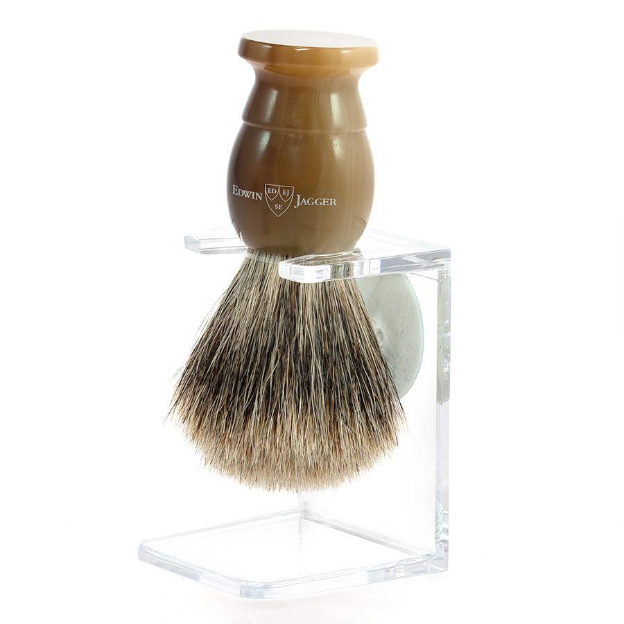 Edwin Jagger Best Badger Shaving Brush and Stand in Light Horn, Medium Badger Bristles Shaving Brush Edwin Jagger