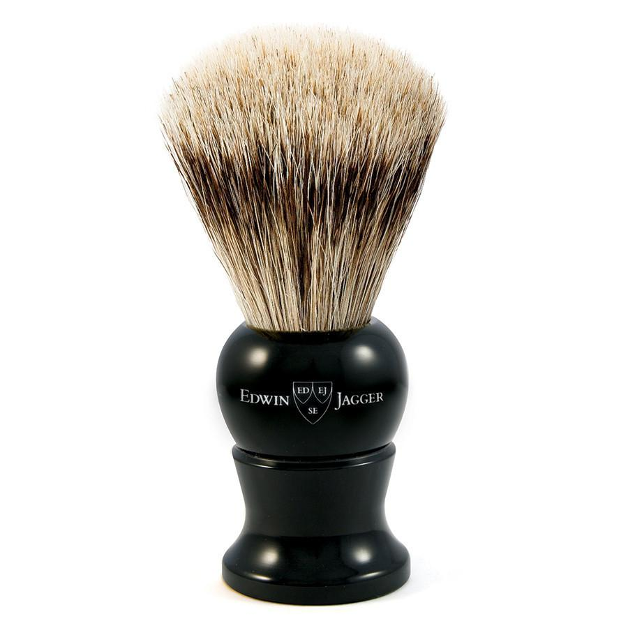 Edwin Jagger Super Badger Handmade English Shaving Brush in Ebony, Medium - Fendrihan