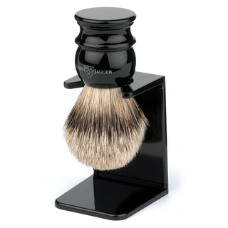 Edwin Jagger Silvertip Handmade English Shaving Brush and Stand in Ebony, Medium Badger Bristles Shaving Brush Edwin Jagger