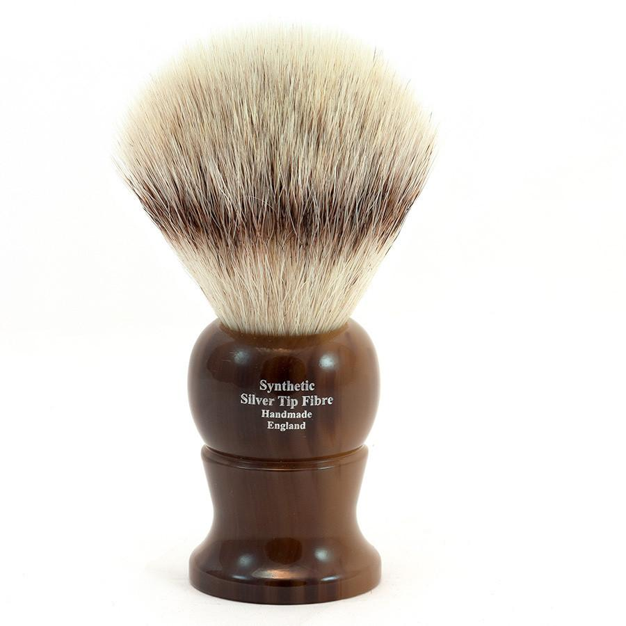 Edwin Jagger Synthetic Silvertip Fibre Handmade English Shaving Brush in Imitation Light Horn, Large Synthetic Bristles Shaving Brush Edwin Jagger