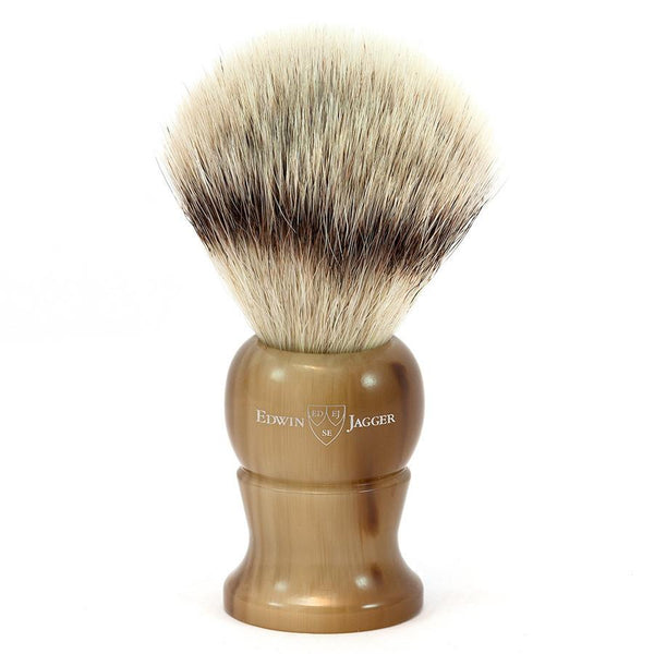 Edwin Jagger Synthetic Silvertip Fibre Handmade English Shaving Brush in Imitation Light Horn, Large - Fendrihan - 1