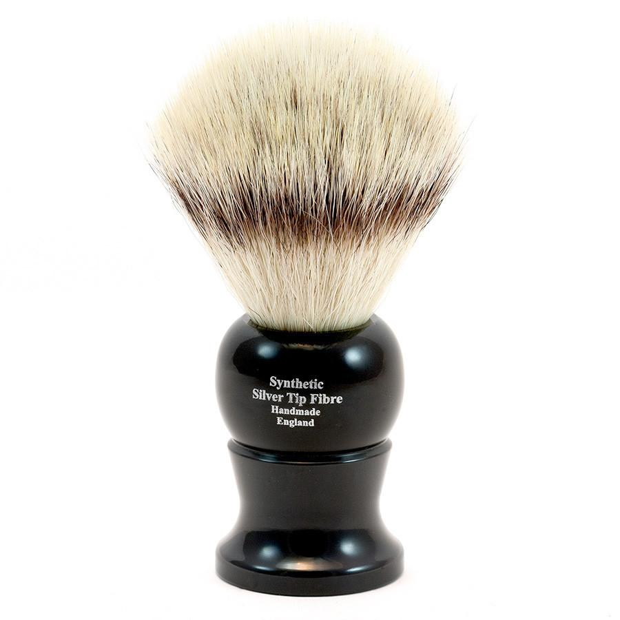 Edwin Jagger Synthetic Silvertip Fibre Handmade English Shaving Brush in Ebony, Large Synthetic Bristles Shaving Brush Edwin Jagger