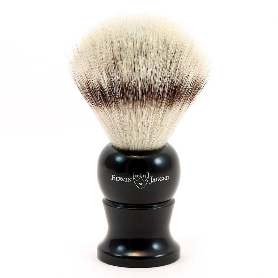 Edwin Jagger Synthetic Silvertip Fibre Handmade English Shaving Brush in Ebony, Large - Fendrihan