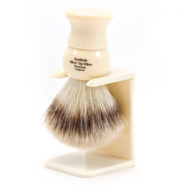 Edwin Jagger Synthetic Silvertip Fibre Handmade English Shaving Brush and Stand in Ivory, Large - Fendrihan - 2