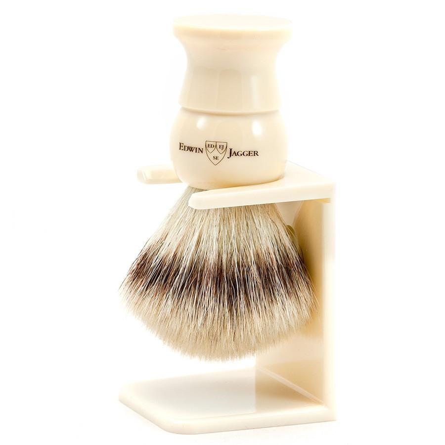 Edwin Jagger Synthetic Silvertip Fibre Handmade English Shaving Brush and Stand in Ivory, Large Synthetic Bristles Shaving Brush Edwin Jagger