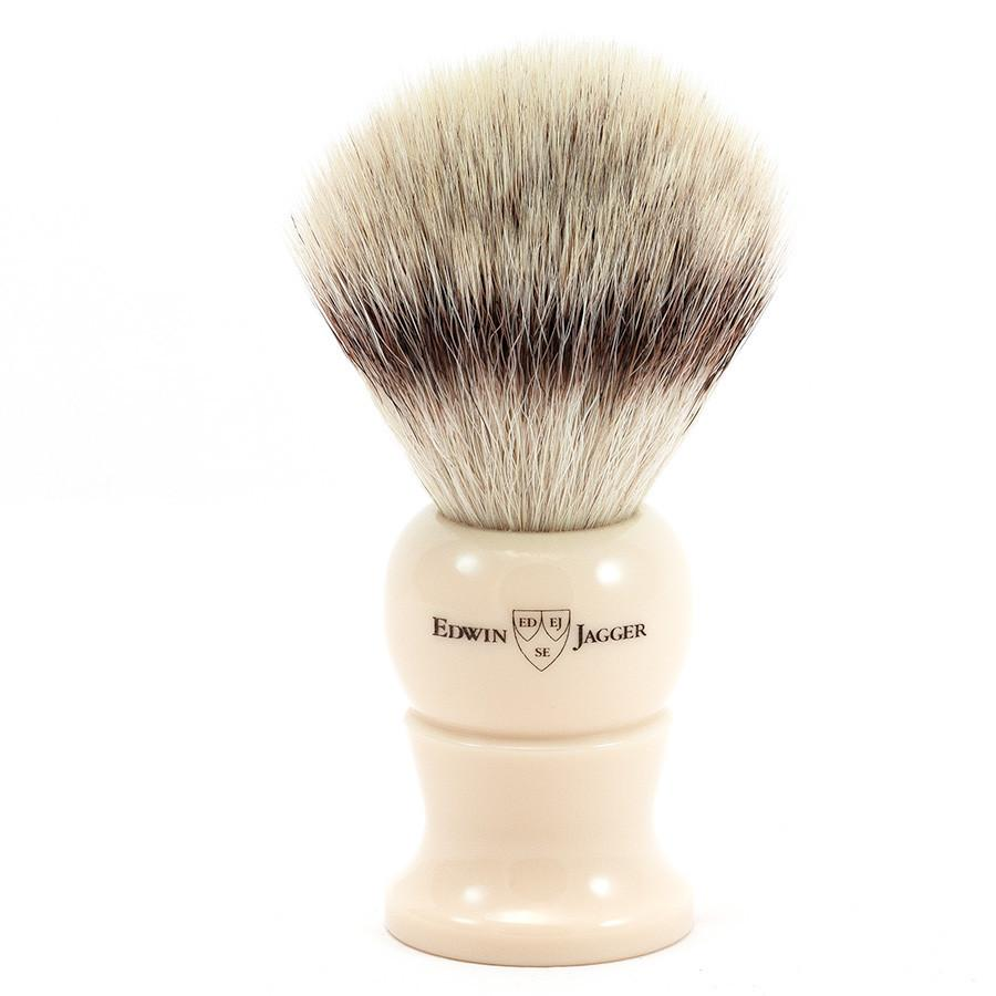 Edwin Jagger Synthetic Silvertip Fibre Handmade English Shaving Brush in Ivory, Large Synthetic Bristles Shaving Brush Edwin Jagger