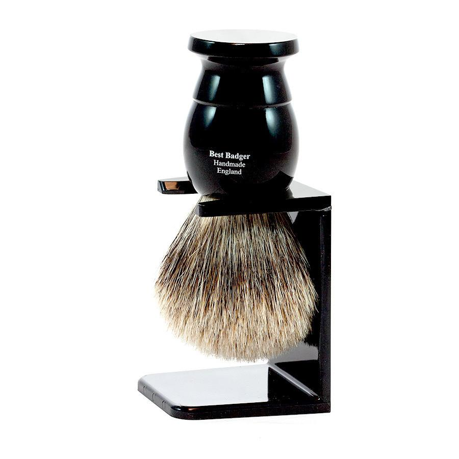 Edwin Jagger Best Badger Shaving Brush and Stand in Ebony, Medium - Fendrihan - 2