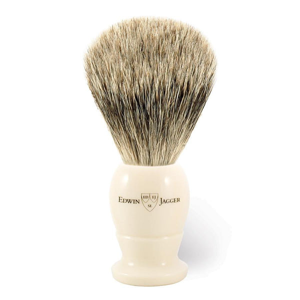 Edwin Jagger Best Badger Shaving Brush in Ivory, Medium - Fendrihan - 1