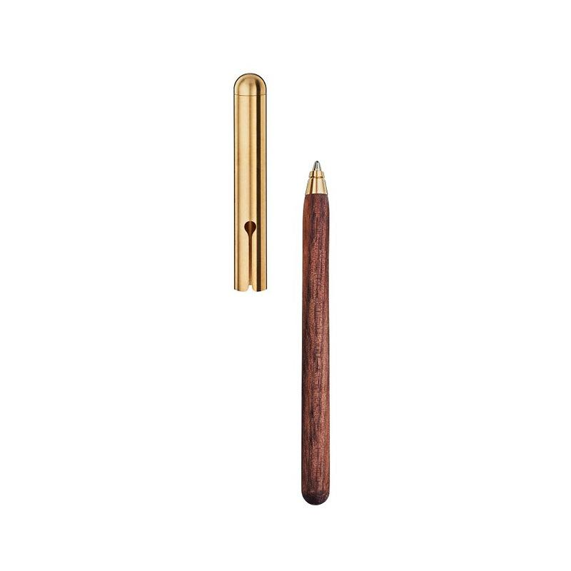 e+m Holzprodukte 'Style' Slim Wood Pen with Metal Cap Ball Point Pen e+m Holzprodukte Walnut/Brass
