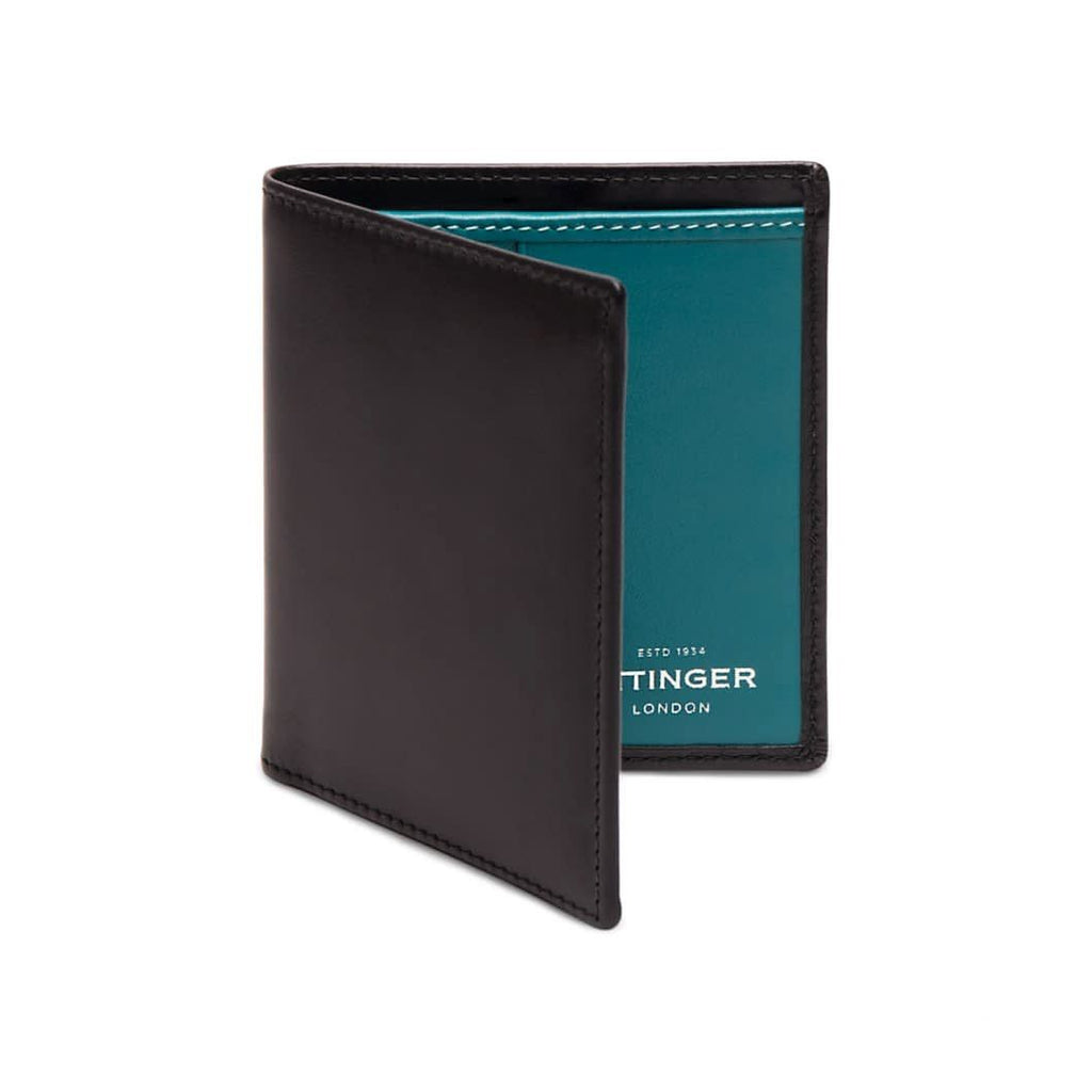 Ettinger Sterling Mini Leather Wallet with 6 Credit Card Slots Leather Wallet Ettinger Turquoise