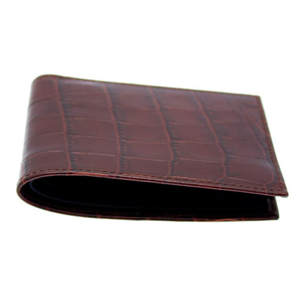 Ettinger Croco Billfold Leather Wallet, Mahogany - Fendrihan - 4