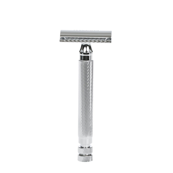 "Fendrihan ""Bay"" Double Edge Safety Razor, Barber Pole Lined Handle"