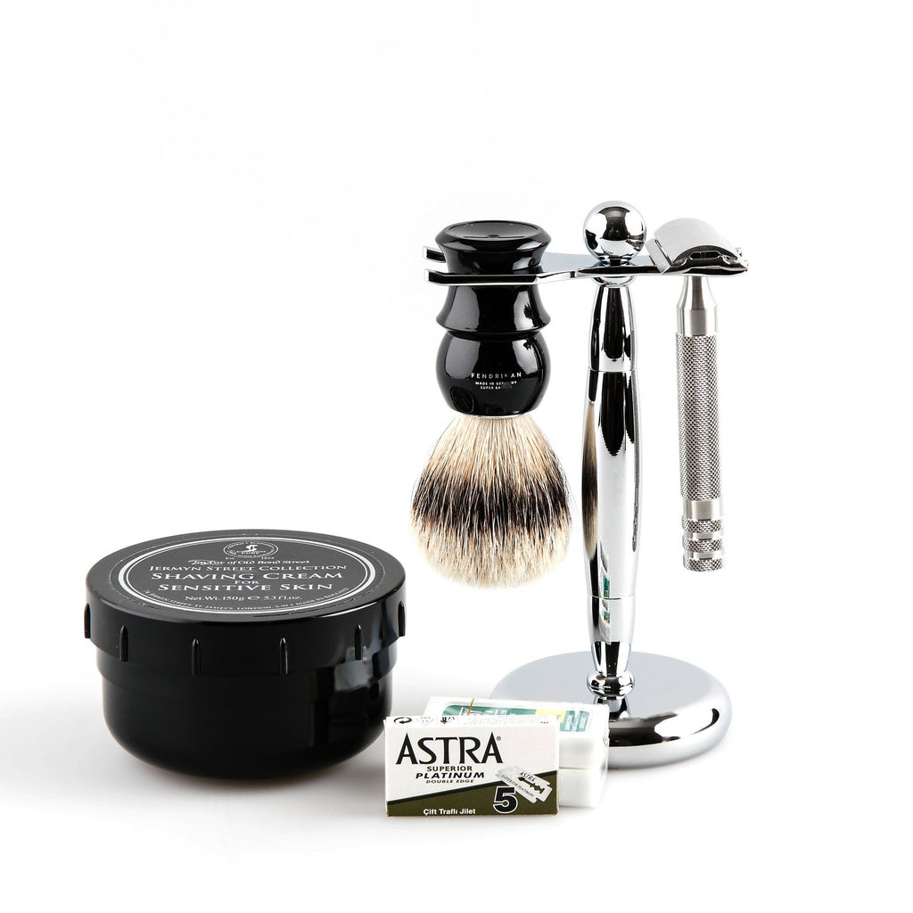5-Piece Wet Shaving Set with Fendrihan Full Stainless Steel Safety Razor, Save $25 Shaving Kit Fendrihan Ebony Artist