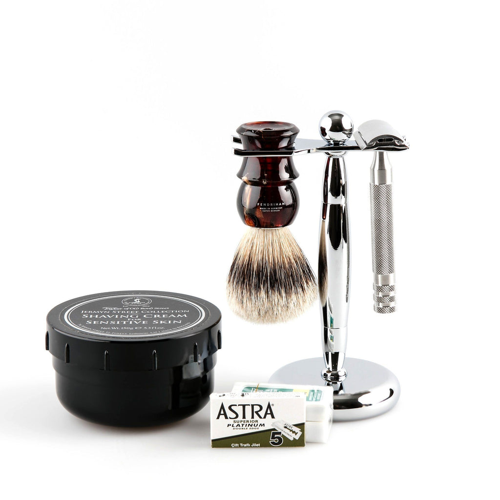 5-Piece Wet Shaving Set with Fendrihan Full Stainless Steel Safety Razor, Save $25 Shaving Kit Fendrihan Tortoise Artist