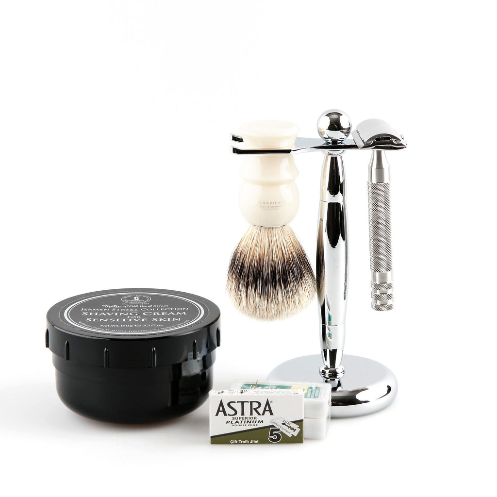 5-Piece Wet Shaving Set with Fendrihan Full Stainless Steel Safety Razor, Save $25 Shaving Kit Fendrihan Ivory Artist