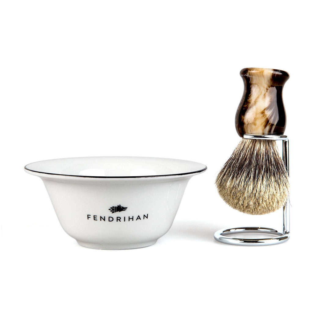 Fendrihan Porcelain Shaving Bowl and Classic Pure Grey Badger Shaving Brush with Metal Stand Set, Save $10 Shaving Set Fendrihan Black Faux Horn
