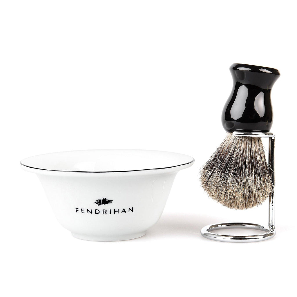 Fendrihan Porcelain Shaving Bowl and Classic Pure Grey Badger Shaving Brush with Metal Stand Set, Save $10 Shaving Set Fendrihan Black Black