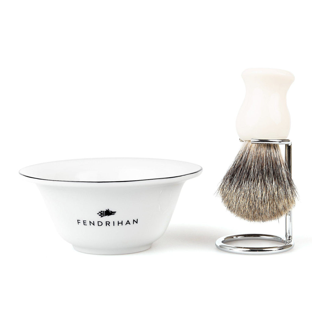Fendrihan Porcelain Shaving Bowl and Classic Pure Grey Badger Shaving Brush with Metal Stand Set, Save $10 Shaving Set Fendrihan Black White