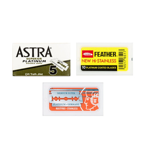 30pc Razor Blade Sampler: Merkur, Feather and Astra Platinum
