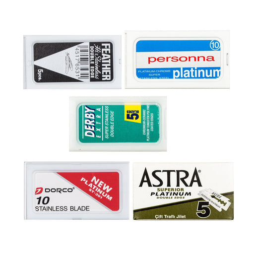 50pc Razor Blade Sampler: Personna Platinum Chrome, Dorco, Derby, Black Feather and Astra