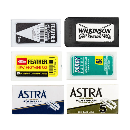 60pc Razor Blade Sampler: Derby, Astra Platinum, Astra Stainless, Feather, Wilkinson, Black Feather