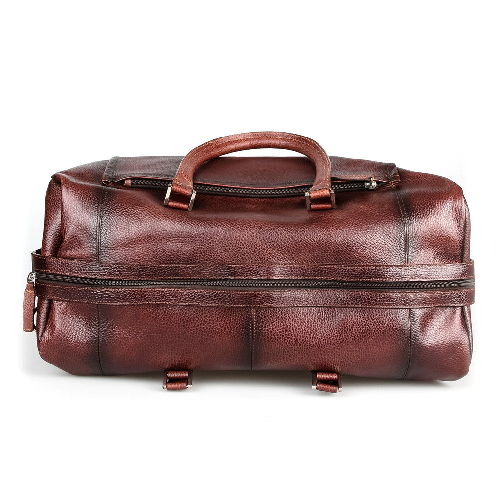 Fendrihan Pebbled Leather Travel Bag, Brandy Leather Bag Fendrihan