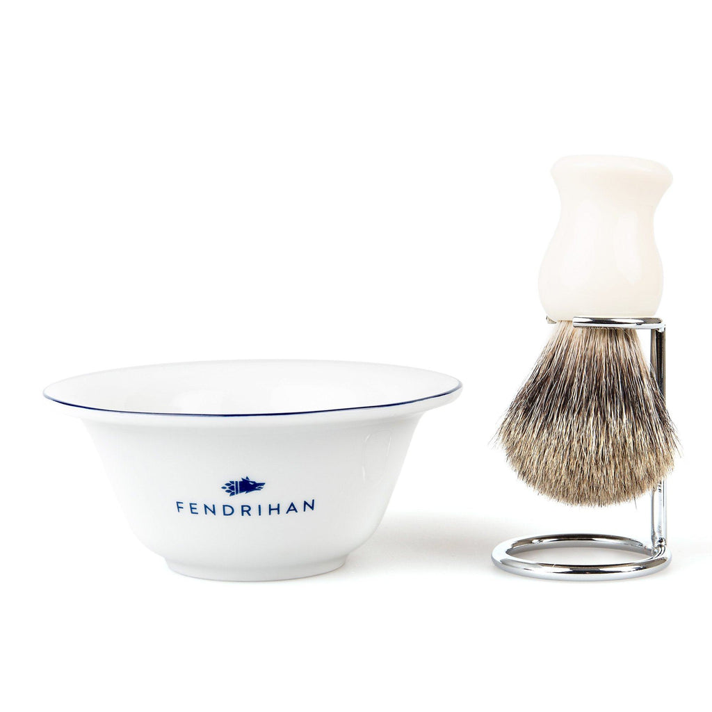 Fendrihan Porcelain Shaving Bowl and Classic Pure Grey Badger Shaving Brush with Metal Stand Set, Save $10 Shaving Set Fendrihan Dark Blue White