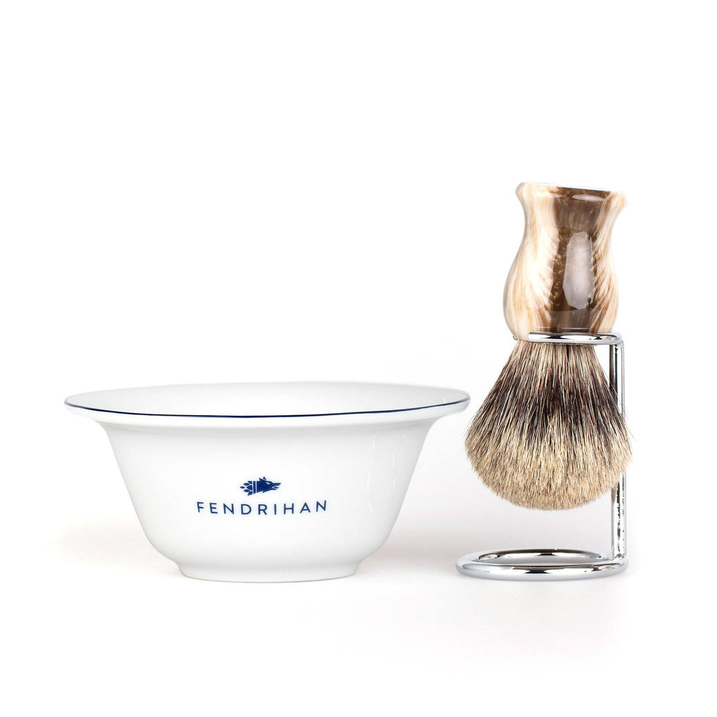 Fendrihan Porcelain Shaving Bowl and Classic Pure Grey Badger Shaving Brush with Metal Stand Set, Save $10 Shaving Set Fendrihan Dark Blue Faux Horn