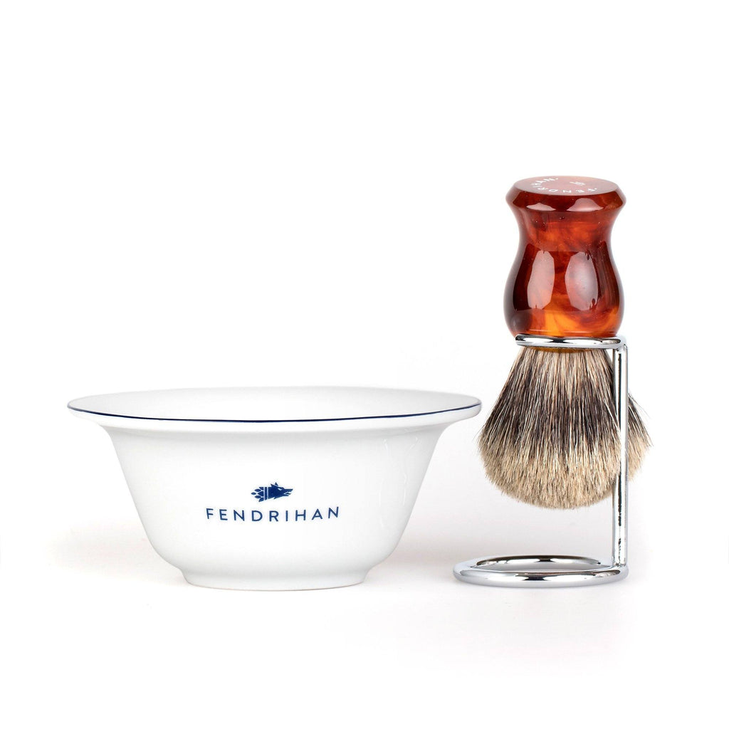 Fendrihan Porcelain Shaving Bowl and Classic Pure Grey Badger Shaving Brush with Metal Stand Set, Save $10 Shaving Set Fendrihan Dark Blue Faux Amber