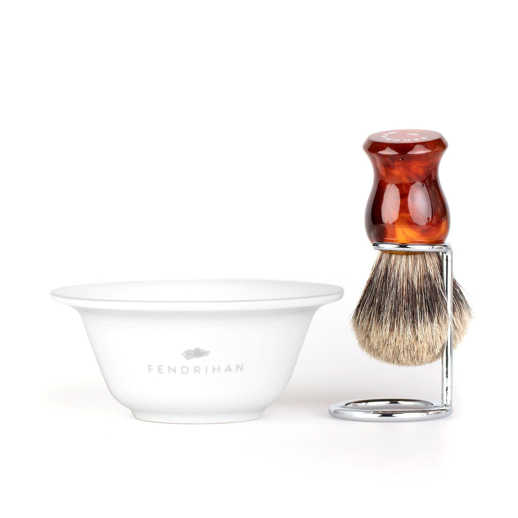 Fendrihan Porcelain Shaving Bowl and Classic Pure Grey Badger Shaving Brush with Metal Stand Set, Save $10 Shaving Set Fendrihan Grey Faux Amber