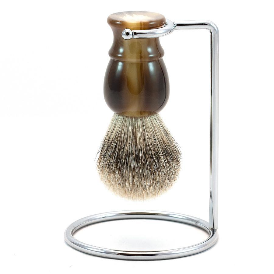 Fendrihan Classic Silvertip Shaving Brush & Metal Stand Badger Bristles Shaving Brush Fendrihan Faux Horn
