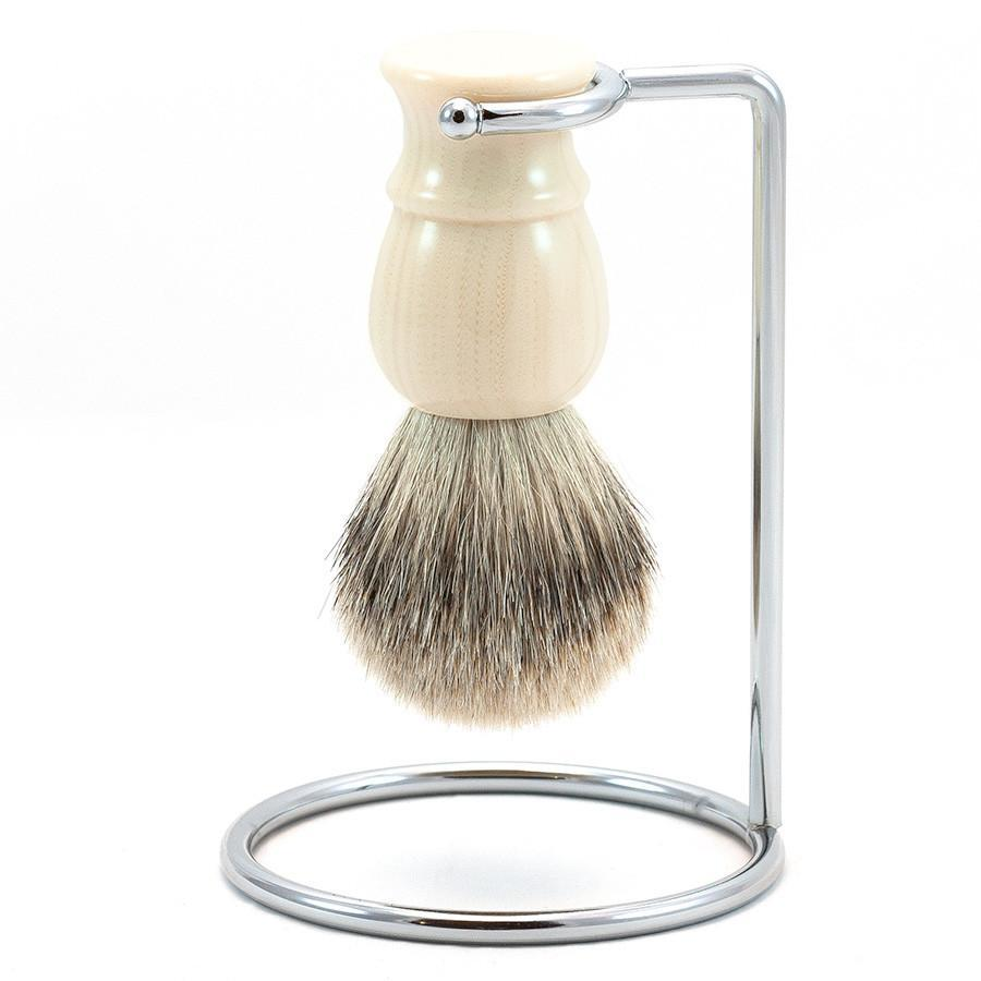 Fendrihan Classic Silvertip Shaving Brush & Metal Stand Badger Bristles Shaving Brush Fendrihan Faux Ivory