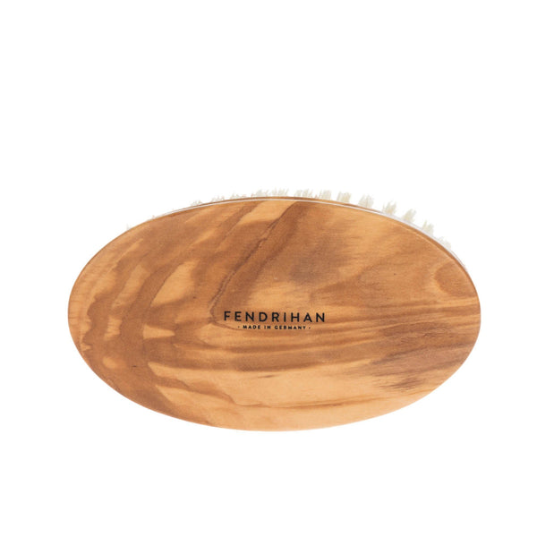 Men's Olivewood Military Hairbrush with Soft Light Bristles - Made in Germany