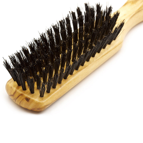 5 Row Olivewood Hairbrush with Boar Bristles - Made in Germany - Fendrihan - 2