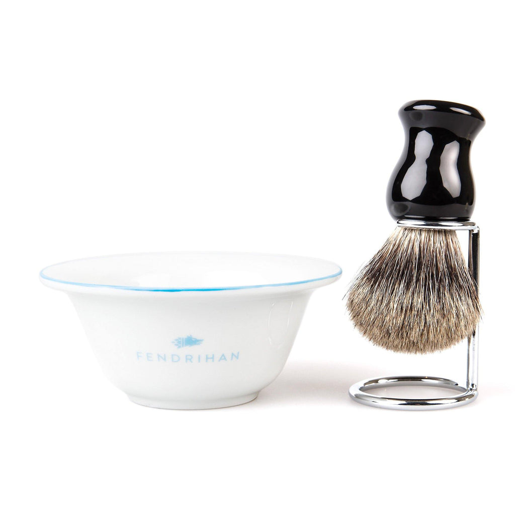 Fendrihan Porcelain Shaving Bowl and Classic Pure Grey Badger Shaving Brush with Metal Stand Set, Save $10 Shaving Set Fendrihan Light Blue Black