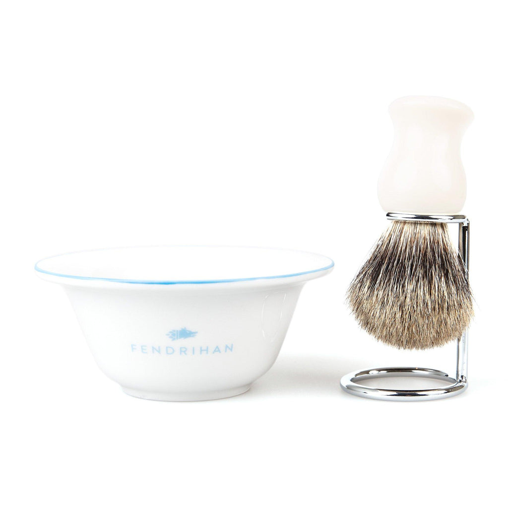 Fendrihan Porcelain Shaving Bowl and Classic Pure Grey Badger Shaving Brush with Metal Stand Set, Save $10 Shaving Set Fendrihan Light Blue White