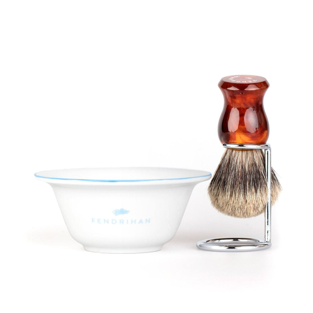 Fendrihan Porcelain Shaving Bowl and Classic Pure Grey Badger Shaving Brush with Metal Stand Set, Save $10 Shaving Set Fendrihan Light Blue Faux Amber