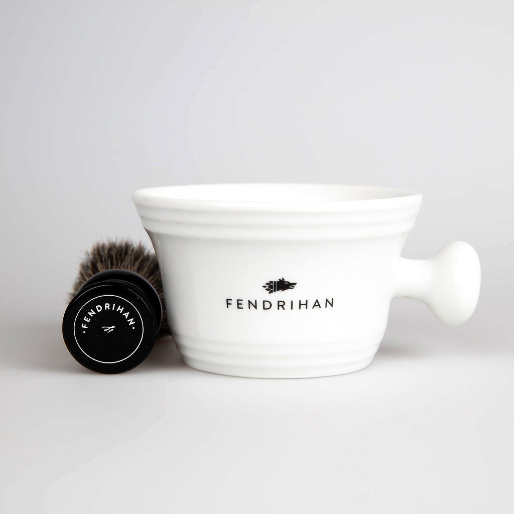 Fendrihan Pure Badger Shaving Brush and Porcelain Shaving Bowl, Save $10 Shaving Kit Fendrihan