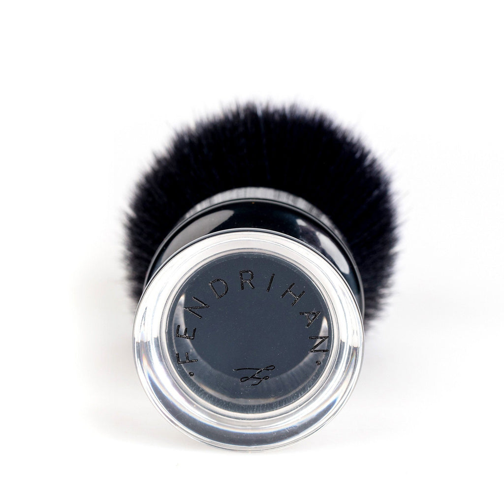 Fendrihan Black and White Synthetic Shaving Brush, Two-Tone Acrylic Handle